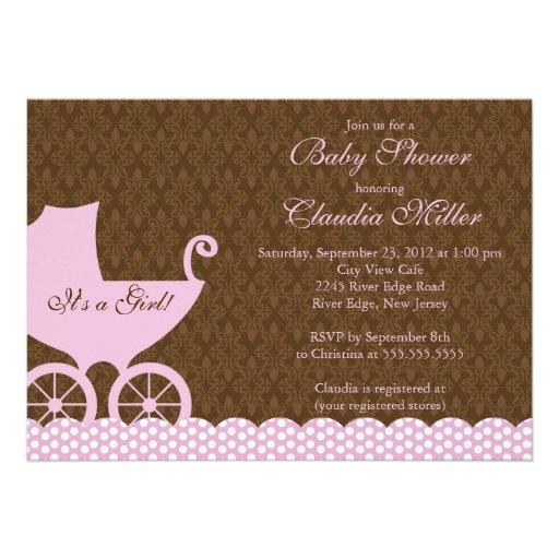 Chá de fraldas elegante da menina da carruagem do convites personalizado