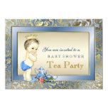Chá de fraldas elegante do tea party dos meninos convite 11.30 x 15.87cm