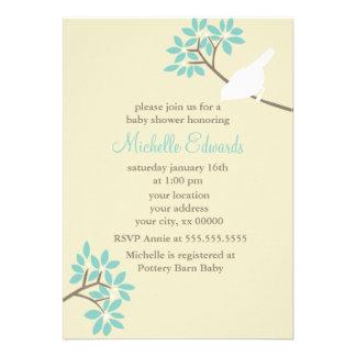 Chá de fraldas elegante dos pássaros convites personalizado