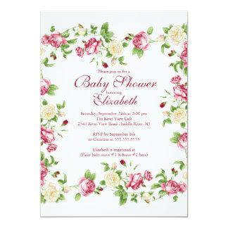 Chá de fraldas floral bonito da menina do rosa convite 12.7 x 17.78cm