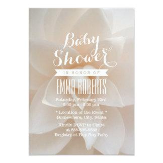 Chá de fraldas floral branco simples convite personalizado