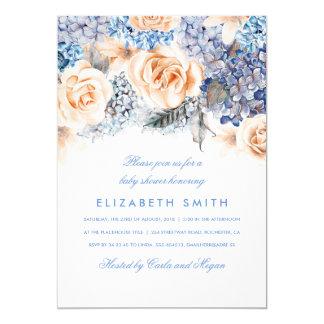 Chá de fraldas floral da aguarela do azul e do convite 12.7 x 17.78cm