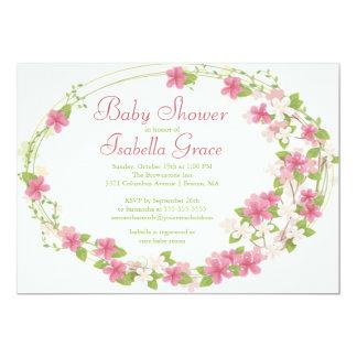 Chá de fraldas floral da menina do rosa bonito da convite 12.7 x 17.78cm