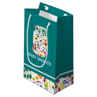 Chá de fraldas floral do frasco de pedreiro sacola para presentes pequena
