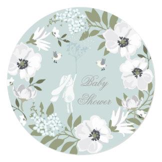 Chá de fraldas floral do menino da grinalda do convite quadrado 13.35 x 13.35cm