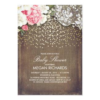 Chá de fraldas floral do ouro do laço de convite 12.7 x 17.78cm