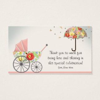 Chá de fraldas floral moderno do guarda-chuva do cartão de visitas
