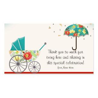 Chá de fraldas floral moderno do guarda-chuva do r cartão de visita