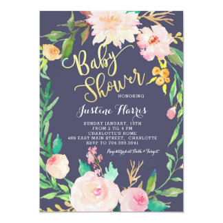 Chá de fraldas, flores azuis, convite do ouro