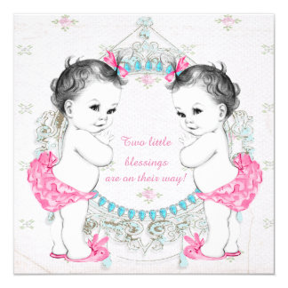 Chá de fraldas gêmeo da menina dos bebês adoráveis convite quadrado 13.35 x 13.35cm