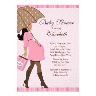 Chá de fraldas grávido moderno da menina do rosa convite 12.7 x 17.78cm
