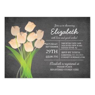 Chá de fraldas moderno das meninas da tulipa do convite 12.7 x 17.78cm