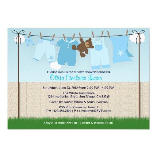 Chá de fraldas moderno do bebé bonito do Clothesli Convite Personalizado