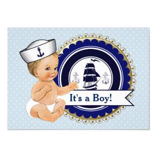 Chá de fraldas náutico do bebê do marinheiro convite 11.30 x 15.87cm