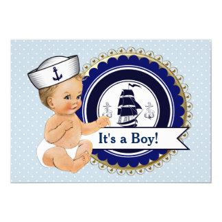Chá de fraldas náutico do bebé pequeno do convite 12.7 x 17.78cm