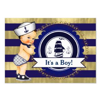 Chá de fraldas náutico do marinheiro do azul e do convite 12.7 x 17.78cm