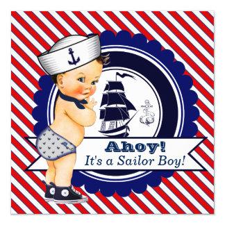 Chá de fraldas náutico do marinheiro dos meninos convite quadrado 13.35 x 13.35cm