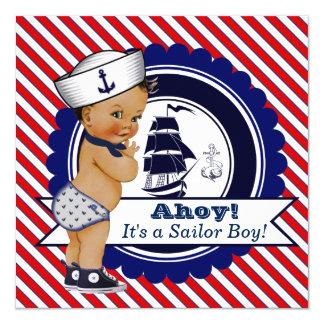 Chá de fraldas náutico do marinheiro pequeno convite quadrado 13.35 x 13.35cm