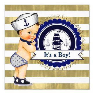 Chá de fraldas náutico do menino de marinheiro convite quadrado 13.35 x 13.35cm