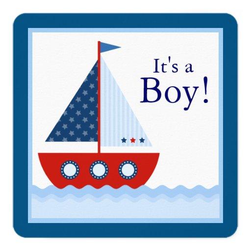 Chá de fraldas náutico do veleiro dos meninos convite quadrado 13.35 x 13.35cm