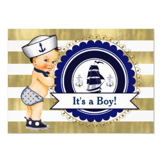 Chá de fraldas náutico pequeno do menino de convite 12.7 x 17.78cm