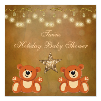 Chá de fraldas neutro do Natal dos ursos de Convites Personalizados
