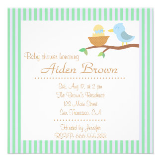 Chá de fraldas Pássaro azul bonito com apenas o b Convites Personalizados