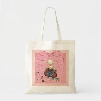 Chá de fraldas personalizado da menina da forma do bolsas