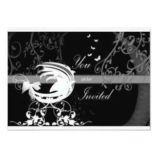 Chá de fraldas preto e branco 1b convite 12.7 x 17.78cm