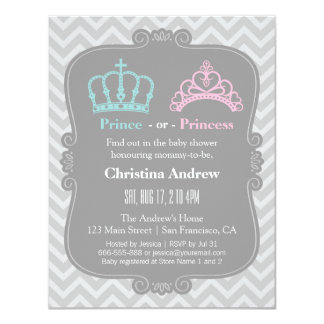 Chá de fraldas real do príncipe ou da princesa convite 10.79 x 13.97cm