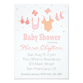 chá de fraldas: Roupa do bebê no clothesline Convites Personalizados