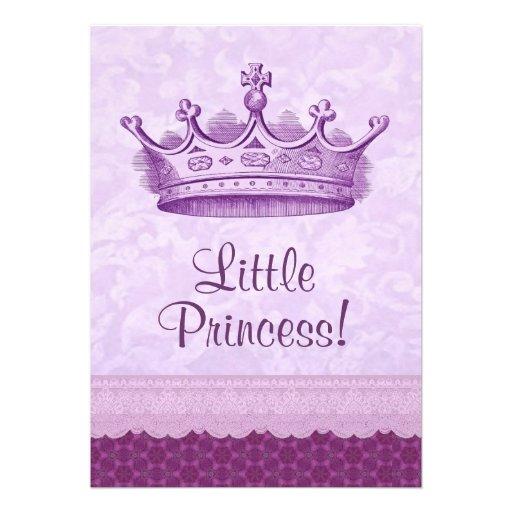 Chá de fraldas roxo da coroa e da princesa Floral  Convites Personalizado