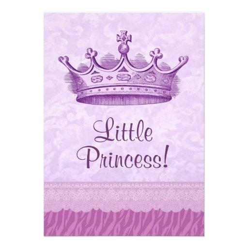 Chá de fraldas roxo da coroa e da princesa Zebra d Convite