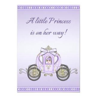 Chá de fraldas roxo da princesa Treinamento Menina Convite 12.7 X 17.78cm