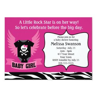 Chá de fraldas roxo do crânio da estrela do rock convite 12.7 x 17.78cm