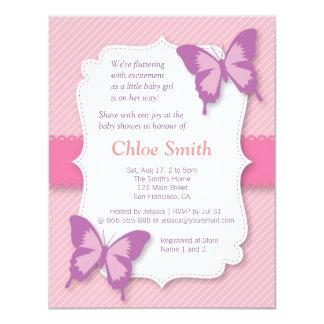 Chá de fraldas roxo elegante da borboleta convite 10.79 x 13.97cm
