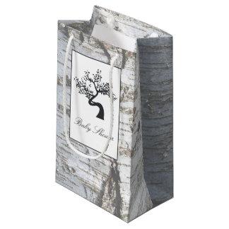 Chá de fraldas rústico da árvore de vidoeiro de sacola para presentes pequena