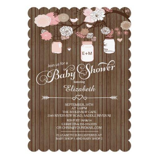 Chá de fraldas rústico das meninas do frasco de convites personalizado