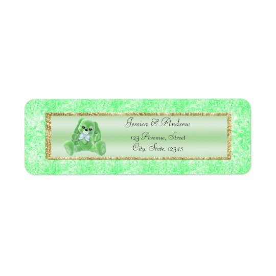 Chá de fraldas verde bonito do coelho etiqueta endereço de retorno