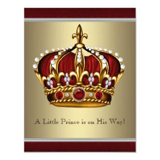 Chá de fraldas vermelho do menino do príncipe convites personalizados