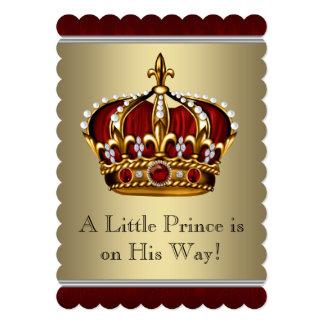 Chá de fraldas vermelho do menino do príncipe convite 12.7 x 17.78cm