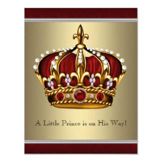 Chá de fraldas vermelho do menino do príncipe convite 10.79 x 13.97cm