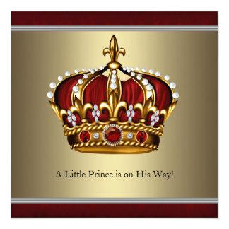 Chá de fraldas vermelho do menino do príncipe convite quadrado 13.35 x 13.35cm