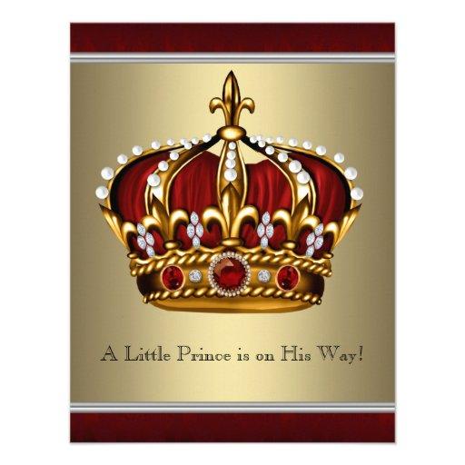 Chá de fraldas vermelho do menino do príncipe herd convites personalizados