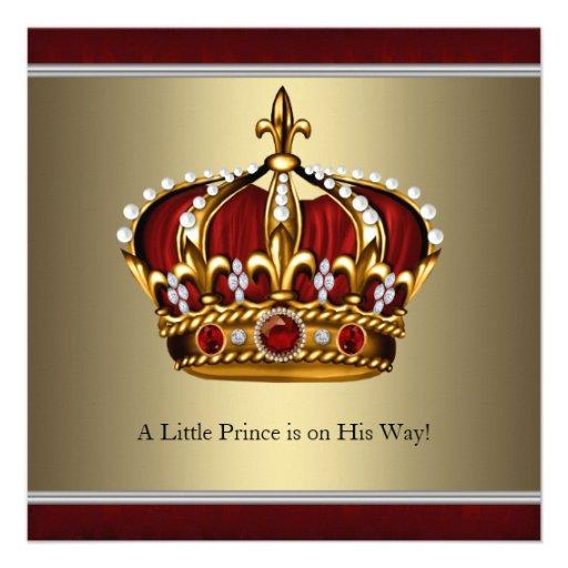Chá de fraldas vermelho do menino do príncipe herd convite personalizado