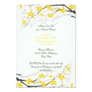 Chá de panela amarelo das flores da magnólia convite 12.7 x 17.78cm