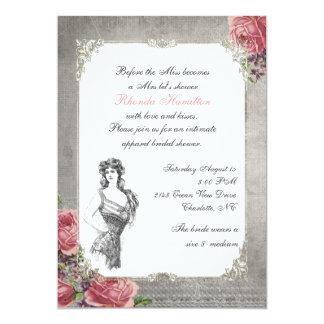 Chá de panela antigo elegante dos rosas convite 12.7 x 17.78cm