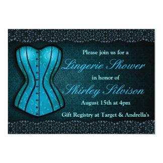 Chá de panela azul da lingerie do espartilho convite 12.7 x 17.78cm