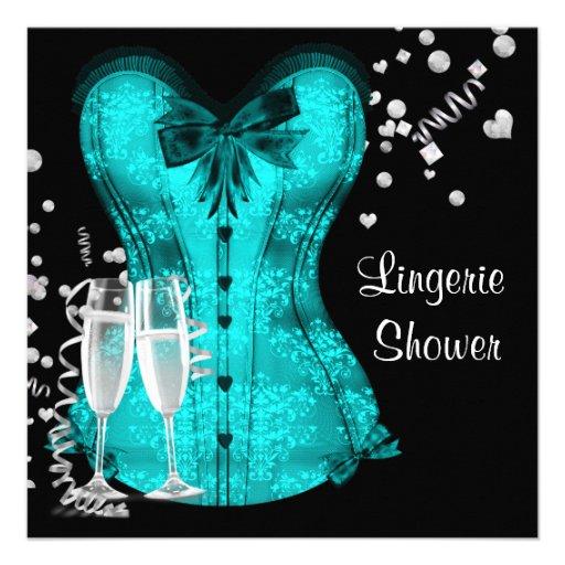 Chá de panela azul da lingerie do espartilho da ce convite