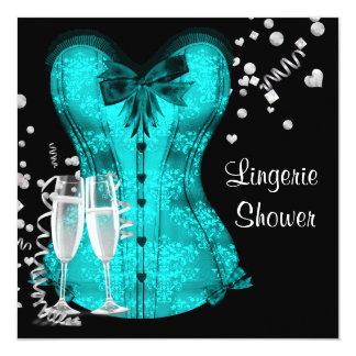 Chá de panela azul da lingerie do espartilho da convite quadrado 13.35 x 13.35cm